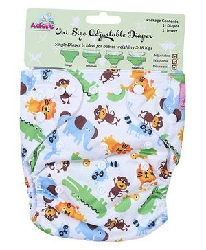 Adore Uni Size Adjustable Cloth Diaper With Insert Animal Print - White