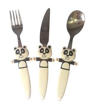 EZ Life Funky Panda Cutlery Set - Off White & Black
