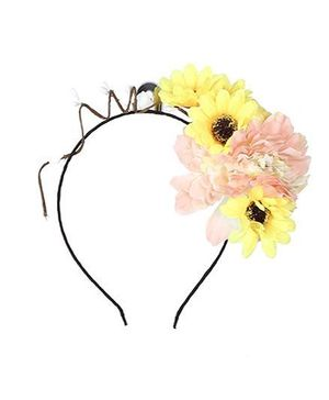 Cutecumber Hair Band With Flower Motif - Pink And Yellow
