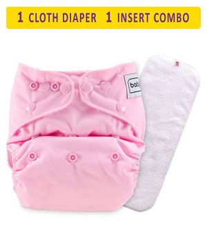 Babyhug Free Size Reusable Cloth Diaper With Insert - Light Pink