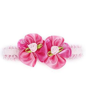 Stol'n Lace Headband With Flower Appliques - Pink