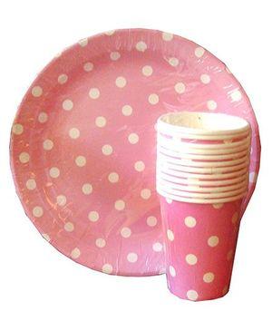 ShopAParty Polka Dots Print Plates & Cups Set - Pink