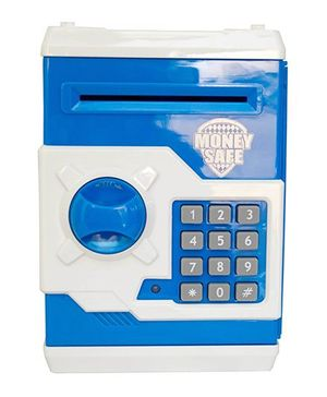 A2B Money Safe Coin Bank With Lock - Blue And White