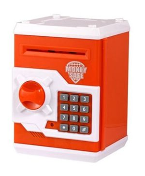 A2B Money Safe Coin Bank With Lock - Orange And White
