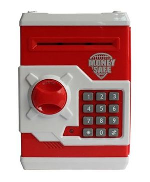 A2B Money Safe Coin Bank With Lock - Red And White