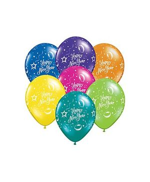 Planet Jashn New Year Party Latex Balloons Pack of 10 - Multi Color