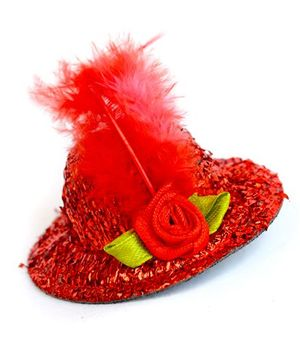 ATUN Shimmer Hat Hair Clip - Red