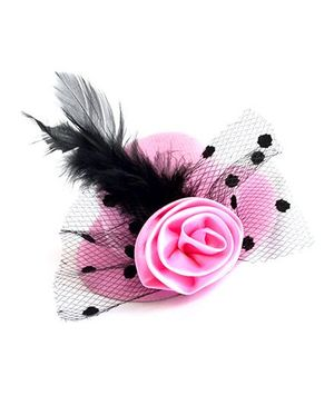 ATUN Feather Hat Hair Clip - Baby Pink