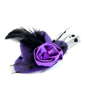 ATUN Feather Hat Hair Clip - Purple