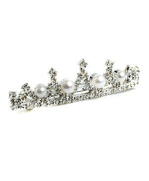 ATUN Diamanete & Pearl Crown Barrette Hair Clip - Silver