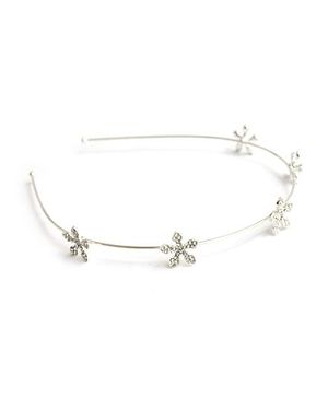 A.T.U.N Hairband With Diamante Dainty Flowers On Base - Silver