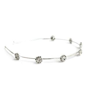 A.T.U.N Hairband With Diamante Flowers On Base - Silver