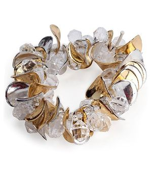 Glixie Beaded Hair Rubber Band - White and Golden