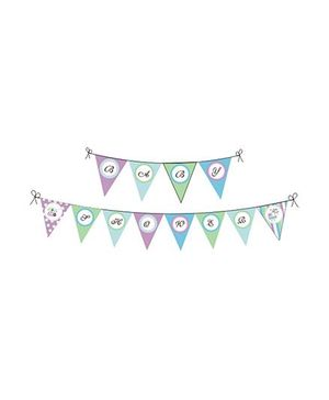 Preetyurparty Baby Shower Bunting Party Banner - Multi Color