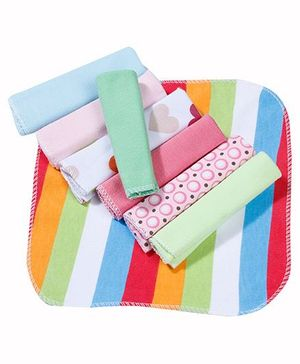 Babyhug Wash Cloth Multicolor And Design - Pack Of 8