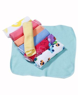 Babyhug Wash Cloth Teddy And Striped Multicolor - Pack Of 8