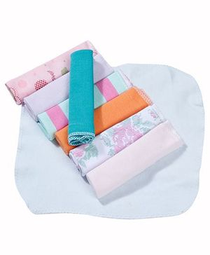 Babyhug Wash Cloth Mix Of Print And Plain Multicolor  - Pack Of 8