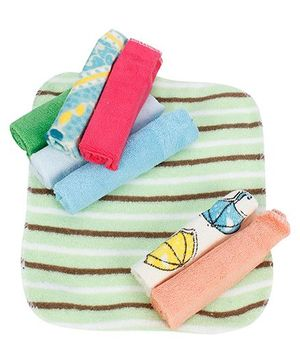 Babyhug Wash Cloth Multi Color And Designs  - Pack Of 8