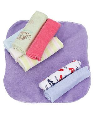 Babyhug Wash Cloth Plain And Printed Multicolor - Pack Of 8