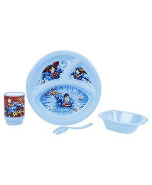 DC Comics Superman Dinner Set Blue - 4 Pieces