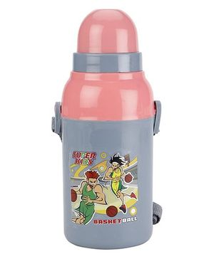 Cello Homeware Insulated Water Bottle Super Kids Print  Grey And Pink - 400 ml