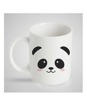 Stybuzz Kids Ceramic Mug Panda Face Print White & Black - 300 ml