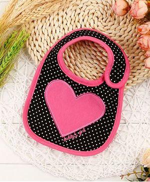 Little Hip Boutique Heart & Polka Dot Print Bib - Black & Pink