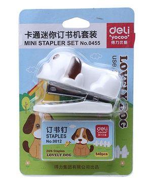 Deli Puppy Shape Mini Stapler Set