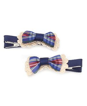 Kid-o-nation Alligator Clips Bow Applique - Blue