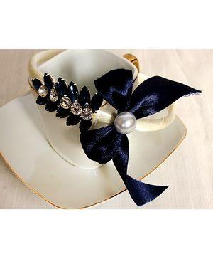 Sugar Candy Satin Bow Hair Band - Navy Blue