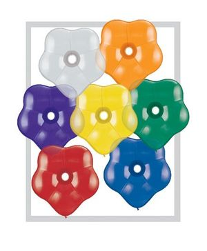 Planet Jashn Flower Shape Jewel Assorted Latex Balloons Multicolor - Pack of 5