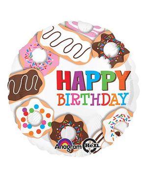 Planet Jashn Donuts Happy Birthday Balloon - Multicolor