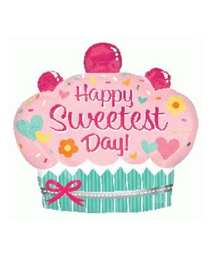 Planet Jashn Sweetest Day Cupcake Supershape Balloon - Pink And Green