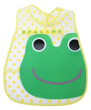 Babyhug Waterproof Plastic Crumb Catcher Bib Frog Print - Green and Yellow