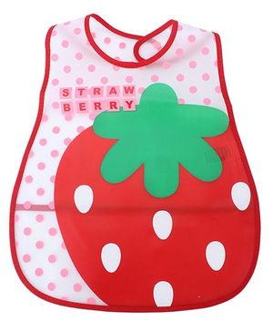 Babyhug Waterproof Plastic Crumb Catcher Bib Strawberry Print - White And Red