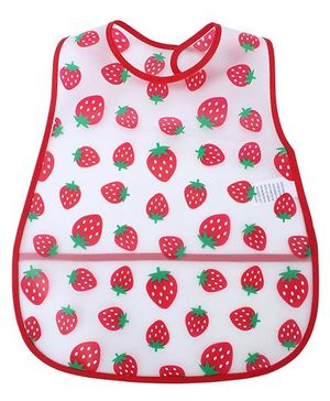 Babyhug Waterproof Plastic Crumb Catcher Bib Strawberry Print - White and Red