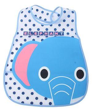 Babyhug Waterproof Plastic Crumb Catcher Bib Elephant Print - White and Blue