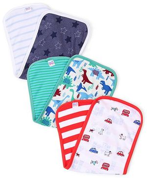 Ben Benny Multi Print Pack Of 3 Burp Cloth - Green Red Navy