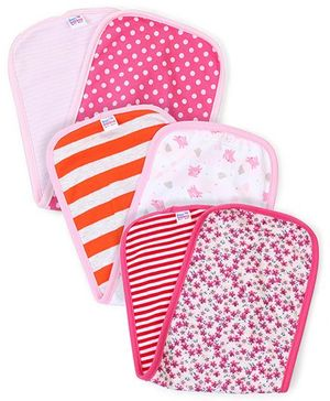 Ben Benny Multi Print Pack Of 3 Burp Cloth - Pink  White