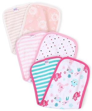 Ben Benny Multi Print Pack Of 3 Burp Cloth - Peach White Pink