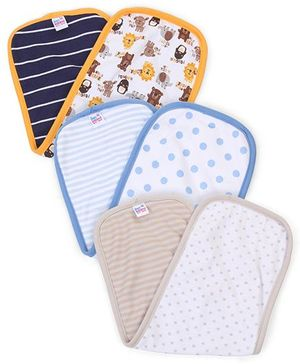 Ben Benny Multi Print Pack Of 3 Burp Cloth - Navy White Beige