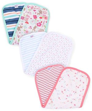 Ben Benny Multi Print Pack Of 3 Burp Cloth - White Pink Green