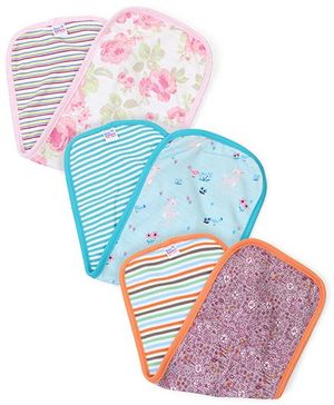 Ben Benny Multi Print Pack Of 3 Burp Cloth - Aqua Pink Orange