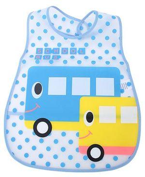 Babyhug Waterproof Plastic Crumb Catcher Bib Bus Print - Blue And Yellow
