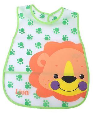 Babyhug Waterproof Plastic Crumb Catcher Bib Lion Design - Green and Orange