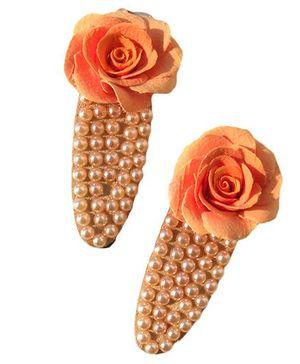 Finefingrs Pearl Hair Clip - Orange