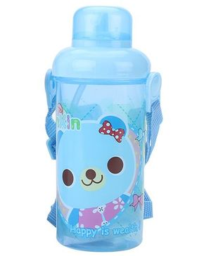 Water Bottle With Straw Bear Print - Blue