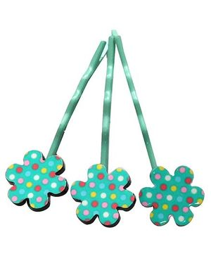 D'chica Adorable Flower Bobby Pins - Green & Blue