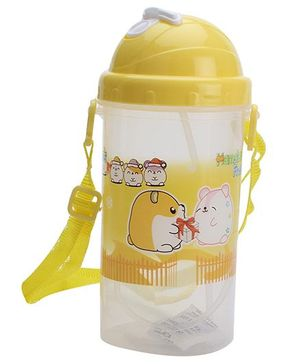 Sipper Bottle With Pop Up Straw Hamster Friends Print - Yellow