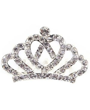 Anaira Rhinestone Studded Angel's Crown Comb Pin - Silver